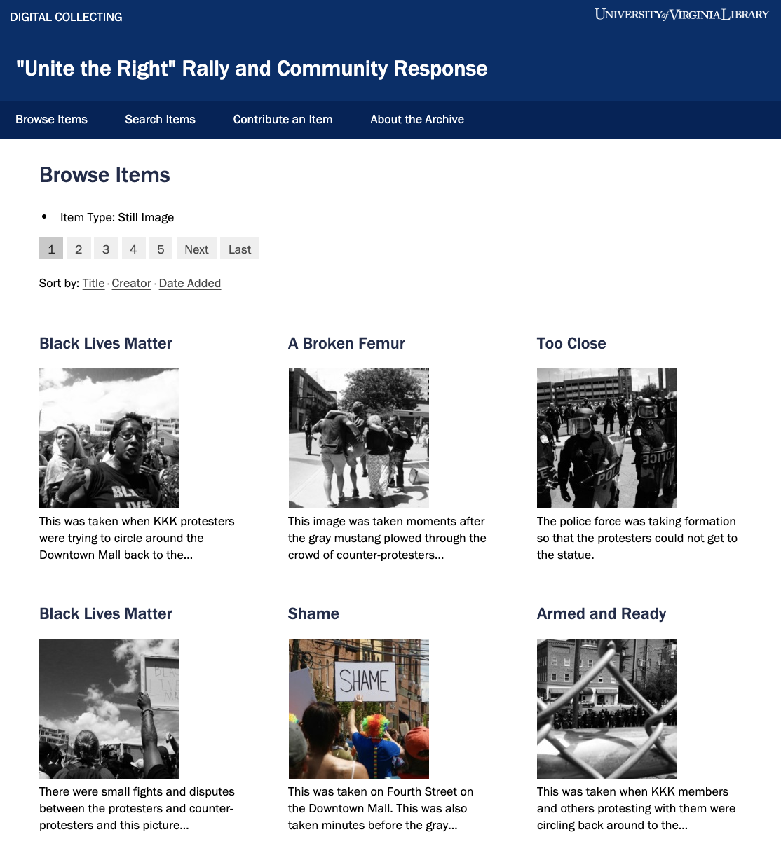 """Screen shot of the """"Unite the Right"""" Rally and Community Response site"""