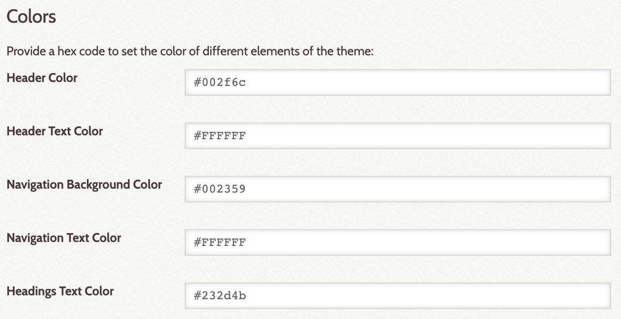 Screen shot of Theme Configuration page