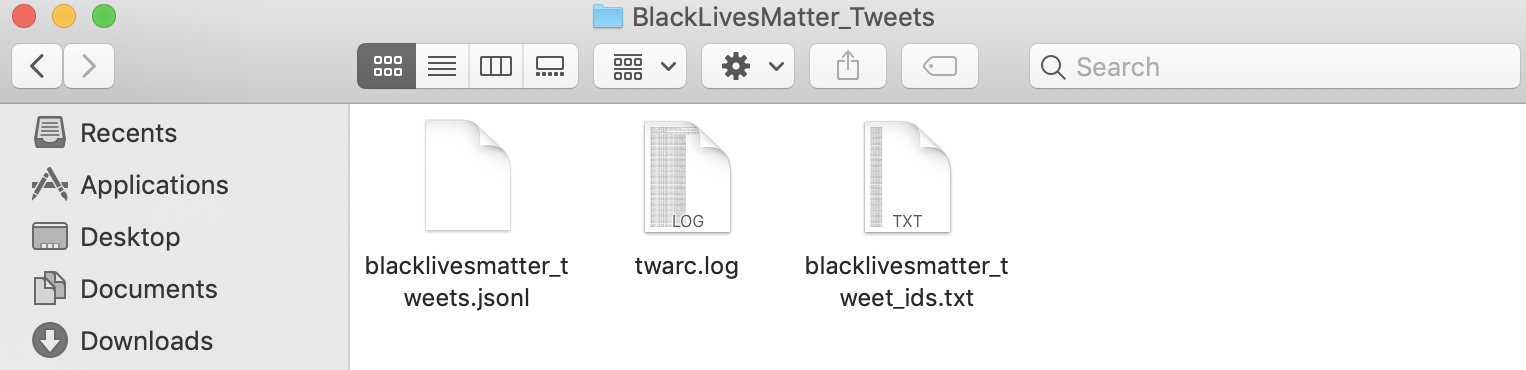 Screen shot of 'BlackLivesMatter_Tweets' folder contents