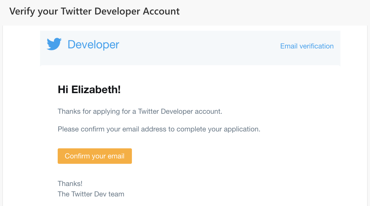 Screen shot of Twitter Developers Site